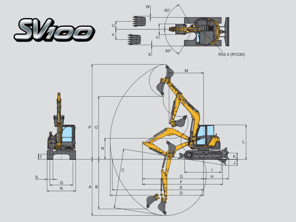 สัดส่วนรถขุดยันม่าร์ SV100-2